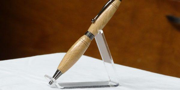 John MacDonald [R] received pen from Gert Rosenau [L]